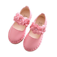 Wholesale Bottom Girl Korean - 2017 spring new fashion Korean girls flowers decorated shoes soft bottom princess shoes 2 style 6 colour 21-36