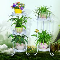 outdoor plant shelf - High quality tiers European Sturdy indoor outdoor wrought iron plants stand flower pots holder display shelf colors available