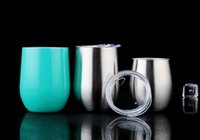 Wholesale Insulated Glass Wholesale - Tumbler Cups 9Oz Egg Cup Coated Wine Glasses Stainless Steel Tumblers with 20 Colors Vacuum Insulated Beer Mug Egg Cups