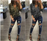 Wholesale Low Cut V Neck Shirts - 2017 Women's Fashion Sexy Straps Low-Cut Print Pullover Long Sleeve camouflage T-shirts (2 Color S-XXL)