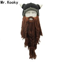 Wholesale birthday plains - Mr .Kooky Men 'S Barbarian Vagabond Viking Beard Beanie Horn Hats Handmade Winter Warm Birthday Cool Gifts Funny Gag Halloween Cap
