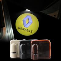 Wholesale renault door - 2X Car Door LOGO Lights for RENAULT Ghost Shadow LED Welcome Lamps Universal Wireless 3D HD Warming