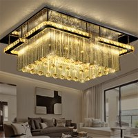 Wholesale Modern Rectangular Pendant Light - New modern rectangular LED crysal chandelier ceiling Light mounted crystal Pandant lamp fixutres foyer luxury chandeliers lighting fixtures