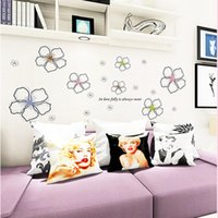 Wholesale Transparent Flower Art - 50 x 70cm Blooming Flowers Home Decor Wall Stickers PVC 2017 Five Leaves Colorful Flowers Transparent Film Removed Stickers Toys Gifts DIY