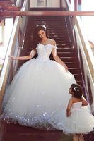Wholesale Trimmer Shoulder Strap - 2018 Amazing Lace Ball Gown Wedding Dresses Off Shoulder Ruched Tulle Bow knot Trimmed Plus Size Bridal Gowns Custom Made