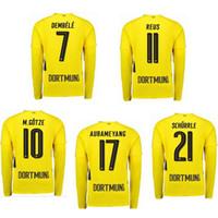 Wholesale Borussia Dortmund Jersey Reus - long sleeve 2017 18 BORUSSIA DORTMUND REUS AUBAMEYANG PULISIC DEMBELE soccer uniform kits soccer jerseys thailand quality football shirts