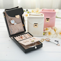 Wholesale Necklace Wallets - Simple Watch Necklace Jewelry Box Handicrafts Handbag Solid Color Leather Wallet Jewelry Bag Portable Storage Jewelry Box Gifs for Women
