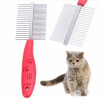 Wholesale Stainless Steel Dog Teeth - Dog Grooming Stainless Steel Anti-static Pets Hair Grooming Two-sized Dense Comb Tooth Slicker Brush For Dogs