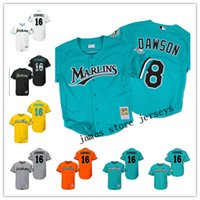 Baseball orange size short - Mne s Florida Miami Marlins Baseball Jersey Andre Dawson Jose Fernandez Throwback Jerseys Size S XL Free shiipping