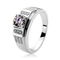 caixa do anel masculino venda por atacado-Brilhante Qualidade 0.85CT Anel de Noivado de Diamante Sintético Masculino Prata Esterlina Jóias Finas Com Caixa de Anel