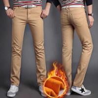 Wholesale Slim Fit Trousers For Men - Wholesale-Mens Winter Pants Warm Fleeces Inside Slim Fit Casual Pants Khaki Blue Black Straight-Fit Long Trousers for Men