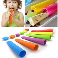 Wholesale Silicone Push Up Pops - Ice Cream Moulds Silicone Pop Mold Popsicles Mould With Lid Ice Cream Makers Push Up Ice Cream Jelly Lolly Pop CCA5888 500pcs