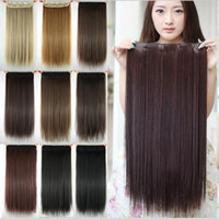 Wholesale Brown Frosted Hair Extensions - 60cm Long Straight Women Clip in Hair Extensions Black Brown High Tempreture Synthetic Hair iece 10pcs lot