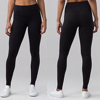 Wholesale Thicken Material High Rise Women Lulu Yoga Pants Leggings Sport Gym Outfits Solid Elastic Fitness Running With Logo Tag
