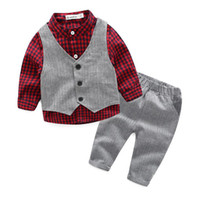 Wholesale boys waistcoat outfit resale online - 2017 Autumn Infant Gentle Boy Clothes Set Kids Plaid Shirt Pants Waistcoat Clothing Suit Children Outfits W043