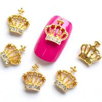 Wholesale Metal Crown Nail - Wholesale- 5pcs 3d Gold Crown with Rhinestones Nail Art Charm Decorations Alloy Metal Glitter Shining Studs for Nails Stones Tools NJ012