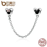 Wholesale Gold Stopper Bracelet - Wholesale-BAMOER Genuine 925 Sterling Silver Minnie Mouse Safety Chain Stopper Charms fit Charm Bracelets for Women Jewelry PAS357