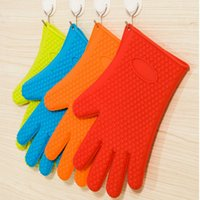 Wholesale Silicone Cooking Gloves Microwave Oven Non slip Mitt Heat Resistant Silicone Home Kitchen Accessories Gloves Baking Tools BBQ Gloves Holder