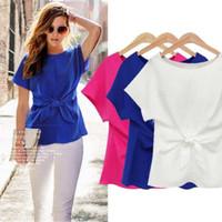 Wholesale Korean Chiffon Blouse Designs - 3 Design Plus Size T-shirt Korean Fashion Women's Loose Chiffon Tops Short Sleeve Shirt Casual Blouse Free Shipping CL205