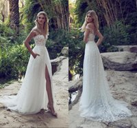 Wholesale Sheer Thigh - 2017 New Limor Rosen A-Line Lace Wedding Dresses Illusion Bodice Jewel Court Train Vintage Garden Beach Boho Wedding Party Bridal Gowns