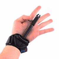 cazador de goma al por mayor-Arquería Caza Arqueamiento Compuesto Arco Release Caliper Ayuda Strap Shooting Pro Flecha Trigger Wristband Accesorios agarre 180 grados