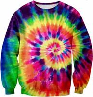 Wholesale Funny Tie - Wholesale-2015 women men 3d sweatshirt printed Tie Dye Tie galaxy hip hop sweatshirts harajuku pullover hoodies magic clothes tops funny