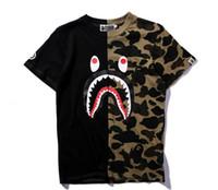 Wholesale Bird Top - Mens women Sportwear Tshirts Jogger Tracksuit Pullover cotton Crewneck Bird OVO Drake Black Hip Hop stusay Tee tops patchw Shark mouth print