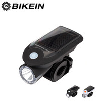 Wholesale Solar Energy Bike - Wholesale- Solar Energy USB Rechargeable 2 in 1 Bicycle Safety Warning Lamp Cycling Bike LED Front Light Waterproof Headlight Black White