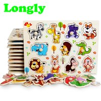 Wholesale early education - Cute Animal Wooden Jigsaw Puzzles Toy Children Kids Baby Early Study Education Gift Children Lovely Toy