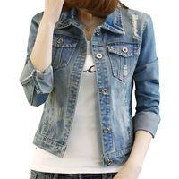 Wholesale jeans jacket cool - Wholesale- 2017 Summer Women Blouson Fashion Oversized Women Denim Jacket Slim Veste en jean femme manche longue Cool Women Jeans Jacket