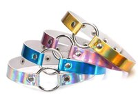 Wholesale Metal Collars Slaves - Rainbow Laser PU Leather Necklace Metal Ring Choker Necklace Collar Sub Slave Necklace for Women Statement Jewelry