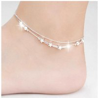 Wholesale Titanium Sports Bracelets For Women - Sexy star ankle bracelets beach jewelry 2015 new 925 Sterling silver Double layers anklets jewelry for Women Boot Foot Jewelry