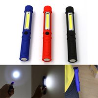 Wholesale Pen Shaped Led - Flashlights Magnetic Portable Penlight Ultra Bright Flashlight COB Pen Shape Light Torch Work Lamp 2 Mode With Clip