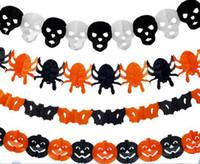 ingrosso decorazione halloween carta-Home Paper Chain Ghirlanda Decorazioni Pumpkin Bat Ghost Spider Skull Shape Halloween Decor Ghirlanda Deco