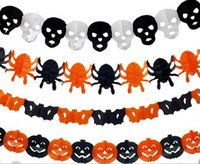 Wholesale Paper Deco - Paper Chain Garland Decorations Pumpkin Bat Ghost Spider Skull Shape Halloween Decor Garland Deco