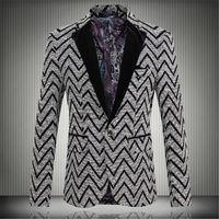 Wholesale Men Stripe Jacket Blazer - Wholesale- 2016 New Spring Fashion Stripe Blazer Men Casual Suit Mens Blazers Slim Fit One Button Men Suit Jacket 5XL Free shipping