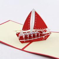 Wholesale Sailboat Card - Wholesale- Kid Sailboat Yacht  3D pop up greeting card  handmade boy cards Free shipping