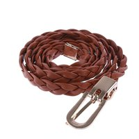 Wholesale Thin Braided Brown Belt - Wholesale- Fashion New 5 Colors Women Braided PU Leather Narrow Thin Buckle Strap Waist Belt All-Match Waistband