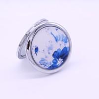jingdezhen porcelana azul branco venda por atacado-De alta qualidade Jingdezhen espelho de porcelana azul e branco, porcelana azul e branca portátil dobrável espelho de maquilhagem