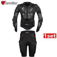 Wholesale Motorcross Racing Jacket - HEROBIER New Moto Motorcross Racing Wear Motorcycle Body Armor Protective Jacket+ Gears Short Pants Black And Red
