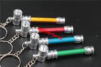 Wholesale Metal Keychain Price - 30pcs key chain Jamaica Rasta leaf MINI Metal tobacco Pipe portable Smoking Pipes Aluminum herb pipes Cigarette Holder Keychain cheap price