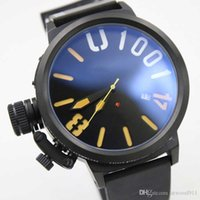Wholesale 55 Mm - Wholesale - AAA Top Quality Classico 55 U-1001 Stainless steel Black Dial Black Rubber Mens Automatic Sport Watches Transparent Back