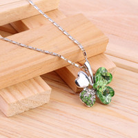 Wholesale Austrian Crystal Clover Leaf - women accessories Austrian heart Rhinestone Crystal 4 four Leaf Leaves Clover necklace pendant fashion jewelry