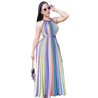 Wholesale Rainbow Dress Maxi - Rainbow Vertical Stripe Halter Maxi Dress For Women Belted Graceful Evening Dress Long Corlorful Dresses S-XL Wholesale Price Mix Order