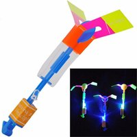 Wholesale Copter Rocket - 50Pcs lot Flying Toys LED Arrow Rocket Flashing Rocket Helicopter LED Slingshot Arrow Copter Toy Crossbow Outdoor Fun Sports