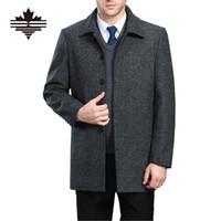 erkek tekli gömlek palto toptan satış-Toptan-Erkek Yün Ceket Uzun Bölüm Turn-Aşağı Yaka Tek Breasted erkek Yün Coat Kalınlaşmak Kış Yün Palto XXXXL XXXL