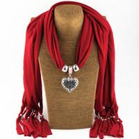 misturado feux cachecol jóias venda por atacado-Cachecol jóias Pingente charme colar lenços de Moda das Mulheres macios lenços de Jóias Mix de Cores