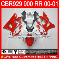 Wholesale honda cbr 929 fairings red - Body For HONDA CBR 929RR CBR900RR CBR929RR 00 01 CBR 900RR 67NO18 TOP Red white CBR929 RR CBR900 RR CBR 929 RR 2000 2001 Fairing kit 8Gifts