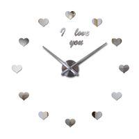 Wholesale Love Wall Watches - Wholesale- 2016 new 3d wall clock diy clocks reloj de pared Quartz watch Living Room Simple Love Circular Acrylic mirror stickers horloge