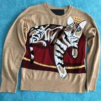 Wholesale Crochet Pattern Long Sweater - 2017 Khaki jacquard sweater tiger stripe cat pattern sweater knitted leisure fashion warm luxury brand Asian size